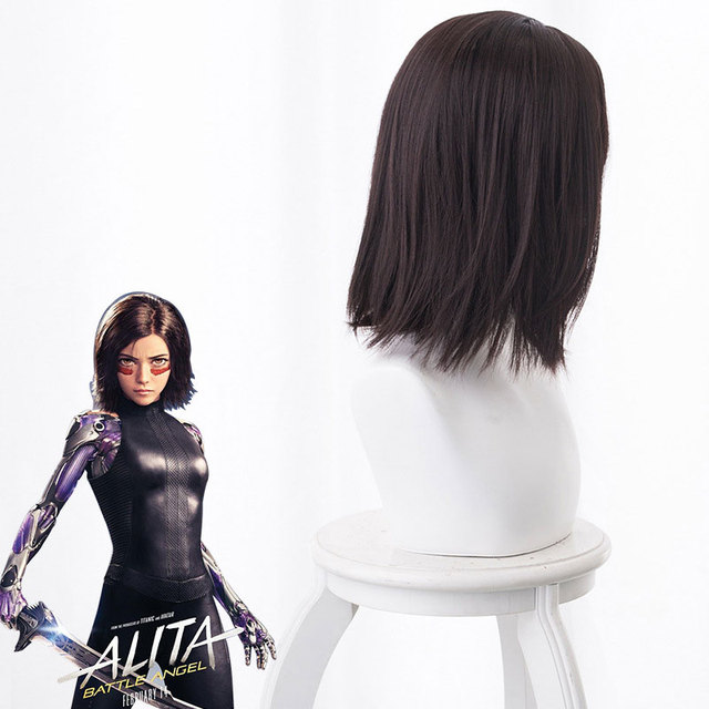 Movie Alita Battle Angel Cosplay Wigs Black Hair for Women Alita Hair Synthetic Wig Halloween Carnival Prop Costume Perucas 40CM