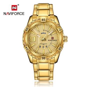 NAVIFORCE 9117S Mens Sport Watch Gold Full Steel Quartz Watch with box