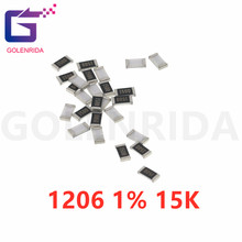 100 pçs 1206 smd resistor 1% 15k ohm chip resistor 0.25w 1/4w 153
