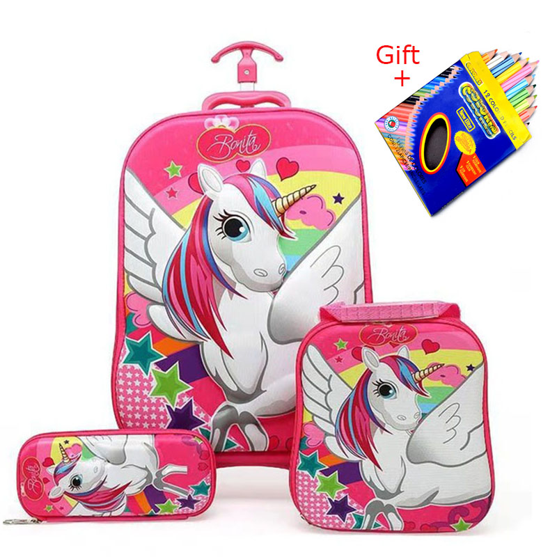 2018 nueva mochila para niños, mochila escolar para niños con ruedas, equipaje, mochila escolar para niños y niñas, bolsa de regalo para niños
