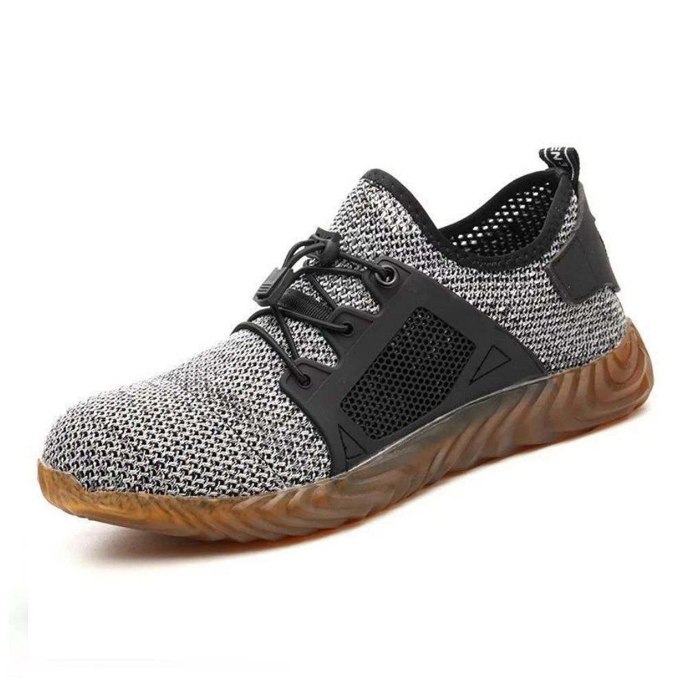 Рабочая безопасная обувь для женщин и мужчин; подходит для использования на открытом воздухе со стальным носком; противоскользящая защитная обувь с защитой от проколов - Цвет: Gray