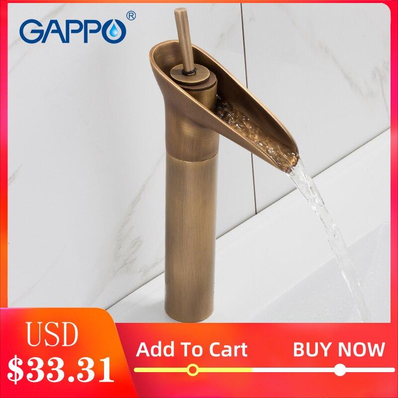 GAPPO robinet de bassin antique en laiton cascade robinet bassin évier robinet mélangeur robinets salle de bain robinets d'eau robinet monté sur le pont