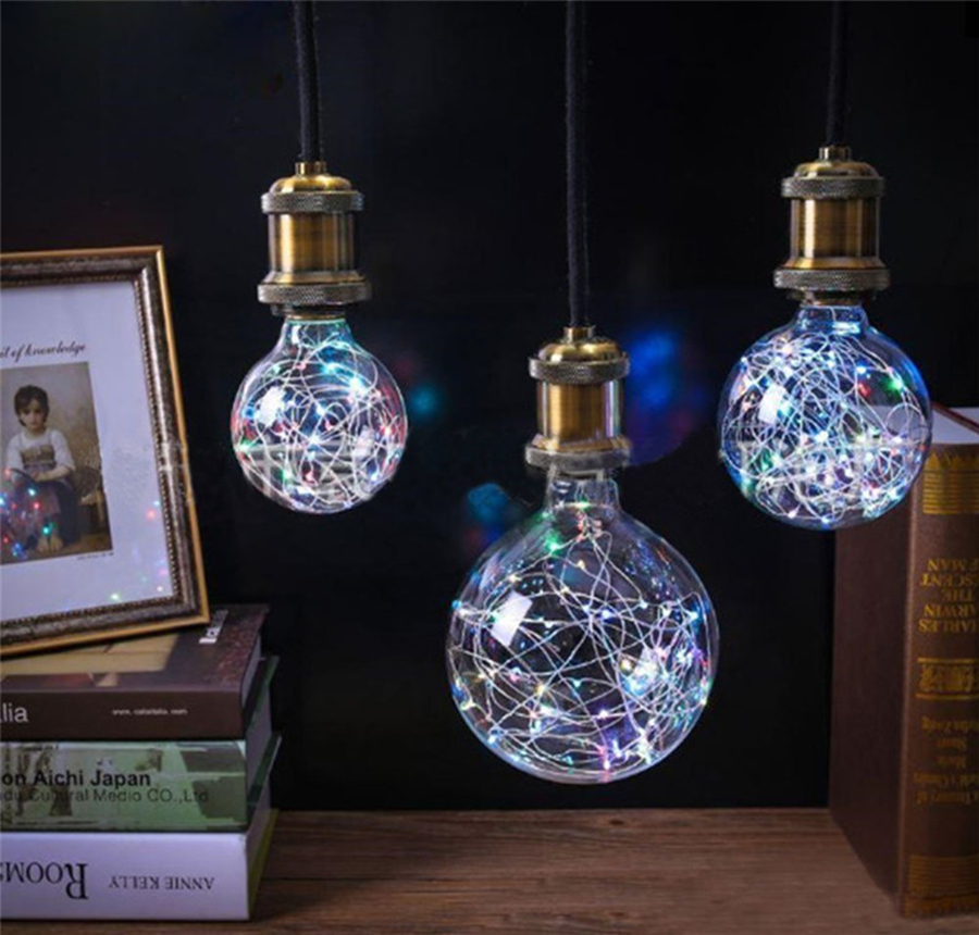 E27 AC110V-220V Retro Edison Fairy LED Light String Bulb RGB LED Night Light Filament Lamp For Indoor Christmas Holiday Light @