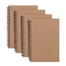 Memo-Planner Paper Sketchbook Notepad Blank A5 4-Pack Kraft-Cover 100-Pages/50-Sheets