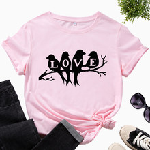 Womens Graphic T-Shirts Printed Shirt Cotton Tee Short Sleeve Summer Tops Female Tees Clothes Four Birds on The Tree Love Animal