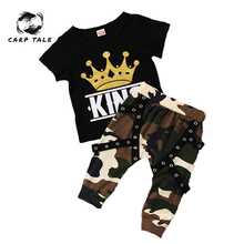 цена Toddler Kids Baby Boys Clothing Short Sleeve Tops Crown T-shirt Camo Pants Outfits Set Summer Newborn Baby Boy Clothes Sets онлайн в 2017 году