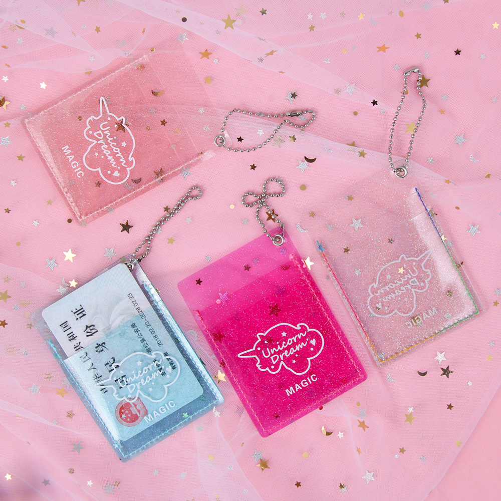 New 1pc Women Glitter PVC Card Holder ID Card Case Korean Mini Credit Bank Card Holder Coin Purse Girls Key Chain Bus Card Set