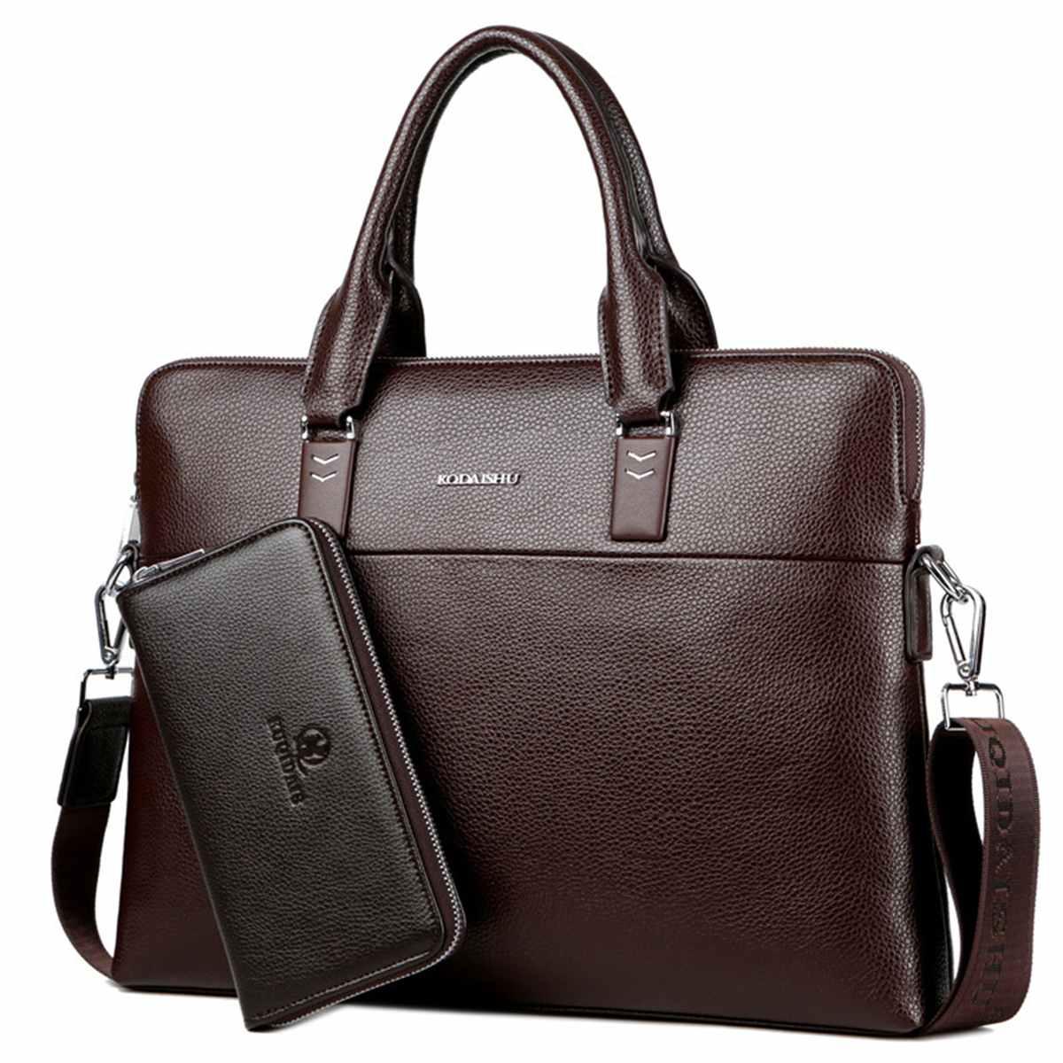 2PCS Fashion Men's Business PU Leather Briefcase Bag With Purse Handbag Laptop Shoulder Bags Messenger Bags Bolso Hombre Maleta