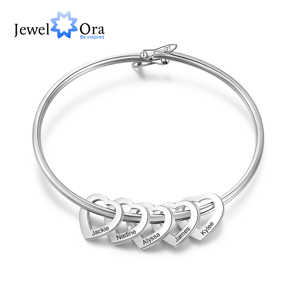 Personalized Engraved 2-5 Names Heart Bracelets For Women Customized Stainless Steel Bracelets & Bangles Gifts For Family