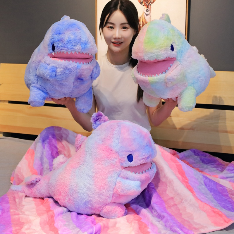Colorful Dinosaur Plush Toy with Flannel Blanket Fuzzy Giant Dino Rainbow Colors Cute Stuff Animals Doll 60cm 3 Colors