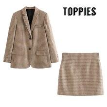 Англия стиль OL Хаундстут костюм набор женщин из двух частей однобортный Блейзер Высокая талия мини юбки