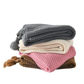 Knitted Wool Blanket Bedroom Blankets Departments Living Room Outdoor Rooms