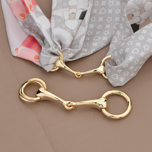 jackstraw multi-purpose high-grade chain scarves buckle bit mouth belt buckle three round silk accessories jewelry scarf ring