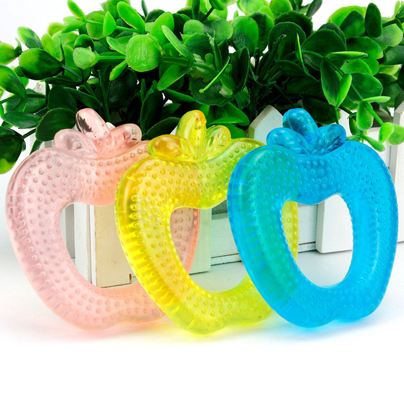 Baby Silicone Teether Safety Creative Palm Apple Water Filled Cute Silicone Beads Plam Teether Child Teething Toys Safe Gift