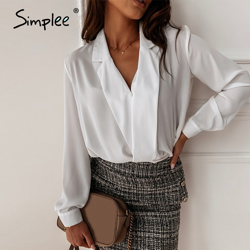 Simplee Sexy V Neck Office Lady Blouses Shirts Long Sleeve Spring Summer Female White Solid Tops Work Wear Slim Women Blouses