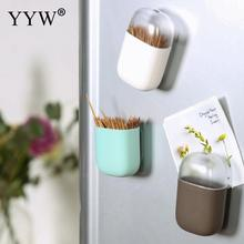 Solid Color Plastic Creative Toothpick Box Portable Storage Magnetic Holder Dispenser Table Decoration