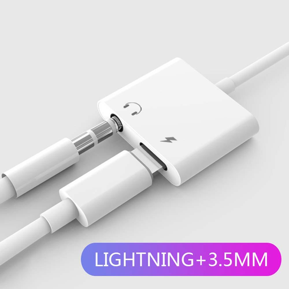 Dual Audio Adapter 3.5mm 2-in-1 Lightning Charger Converter Cable For IPhone 7/8/X  Above IOS10.0 / IOS 10.3 System