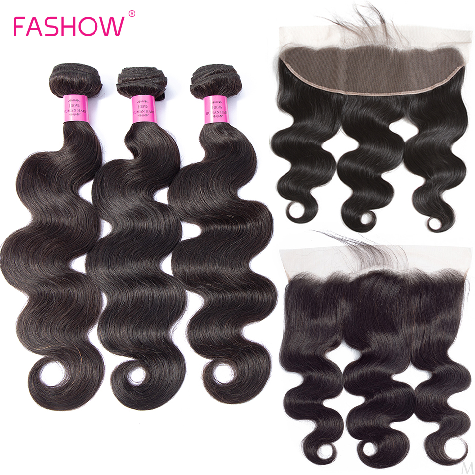 Indian Body Wave Human Hair Weave Bundles With Lace Frontal Closure With Baby Hair Natural HairLine Fashow Remy Hair MiddleRatio