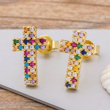 Top Quality Rainbow Cross Stud Earrings Gold Color Micro Pave CZ Delicate Fashion Women Girls Fine Party Jewelry Gift(China)