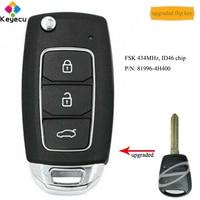 KEYECU Upgraded Flip Remote Control Car Key With FSK 434MHz ID46 Chip - FOB for Hyundai Starex H-1 H1 2008-2015 P/N: 81996-4H400