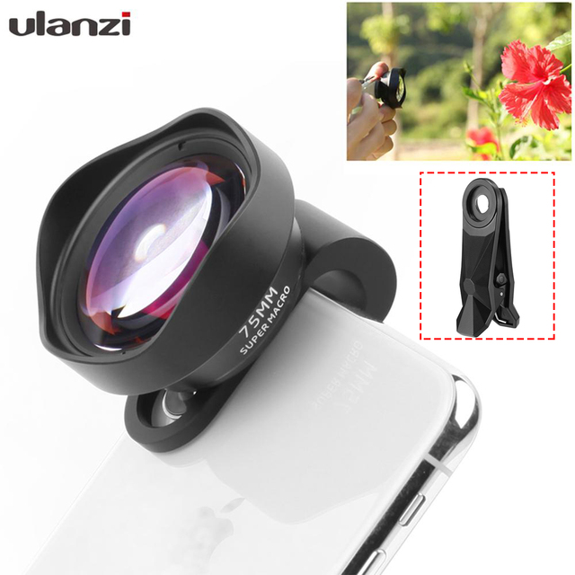 Ulanzi 75mm Macro Lens HD No Distortion DSLR Effect Clip on for iPhone 11 Samsung Huawei Xiaomi Phone Camera Lens 17mm Thread