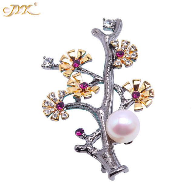 JYX Broche Perle de Culture Blanche Naturelle 9 mm AAA