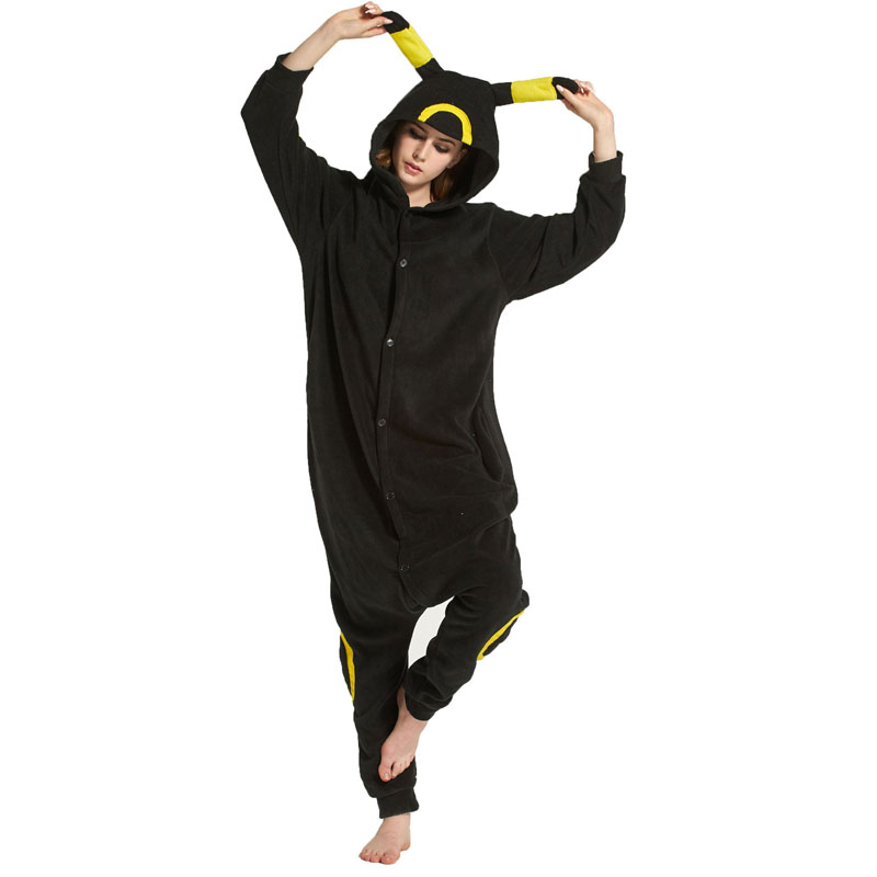 Umbreon Kigurumis Anime Pajama Women Girl Black Yellow Animal Onesie Cartoon Party Outfit Adult Funny Cool Home Wear Button Suit