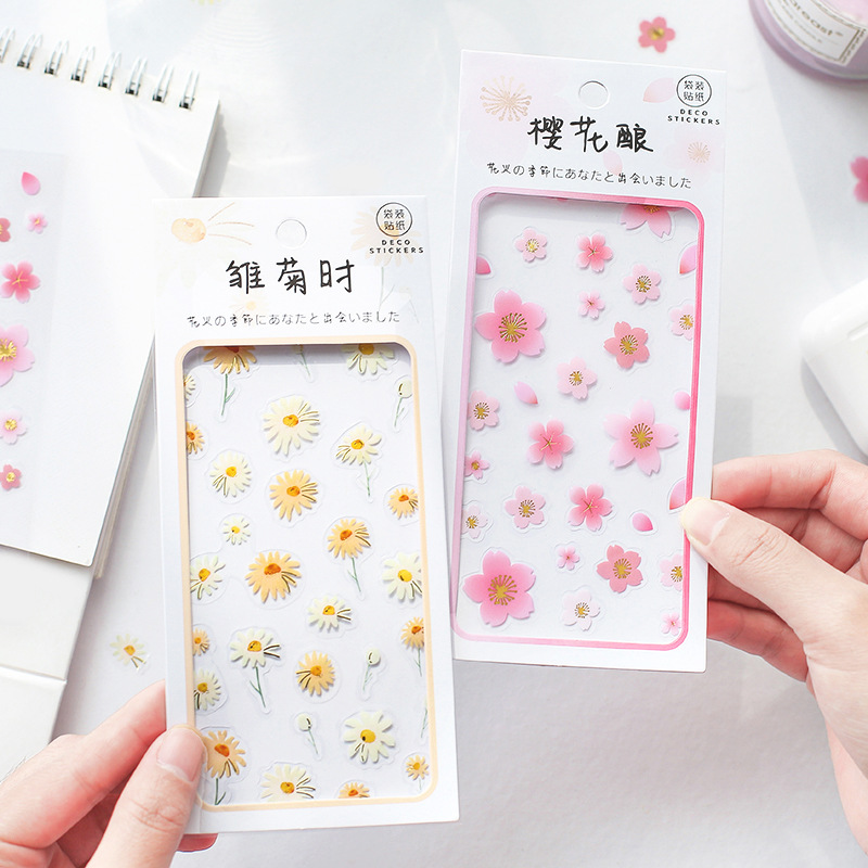 Fresh Bright Colored Flowers Gold Foil Transparent PVC Stickers Cute Scrapbooking Stationery Stickers Diy Bullet Journal