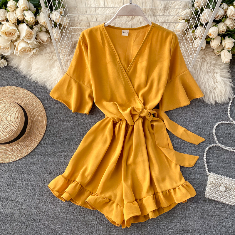 Boho Slim Ruffles 2020 V Neck Jumpsuit Flare Sleeve Casual Sexy Women Rompers Short Summer Tie Playsuit Beach Holiday Romper