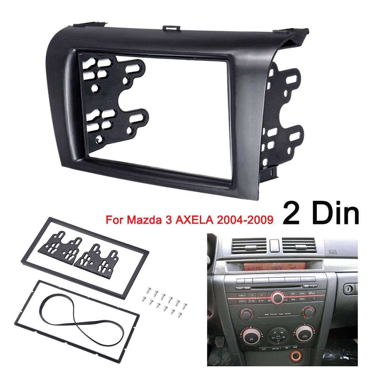2DIN araba Stereo radyo DVD fasya Fascias Dash paneli plaka Trim kiti krom çerçeve için Mazda 3 AXELA 2004 2005 2006 2007 2008 2009