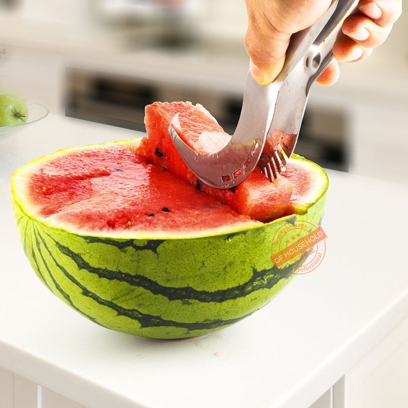 Amazon 9-Inch Stainless Steel Watermelon Fruit Slice Film Hanger Hami Melo Multi-functional Fruit Segmentation Tool Slicer FDA