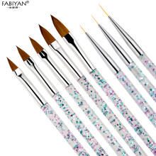 8 sztuk/zestaw Nail Art Liner pędzel do malowania kryształ akrylowy pędzelek do żelu UV paskiem kwiat malarstwo rzeźba pióro do rysowania narzędzia do Manicure