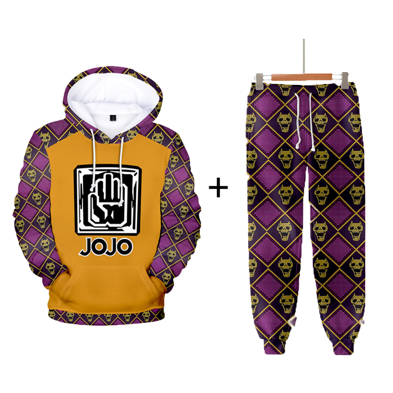 Fashion 3D JOJO Fantasy Adventure Character Set Men's And Women's Hoodies + Sports Pants Autumn Winter Boys And Girls Pullovers