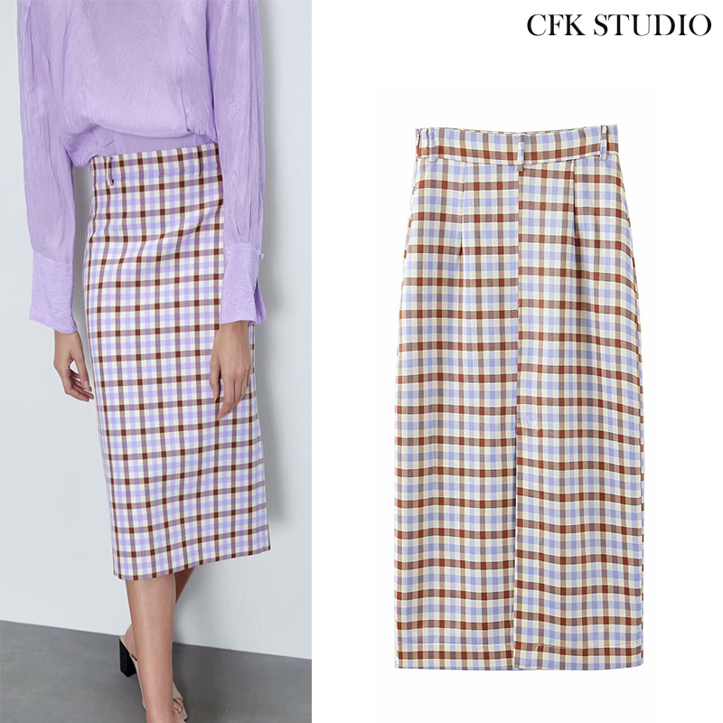 ZA New Women Midiskirt With High Waist Plaid Printed CottonMidiskirt 2020 New Summer Yellow England Casual Straight Midiskirt