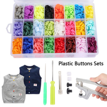 Round Snaps Buttons For Bib 360 Sets T5 Plastic Cover Press Button Fastener Snap For Clothes Accessories DIY Crafts 24 Colors