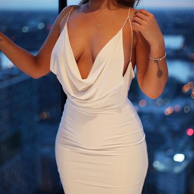 Satin Women Strap Midi Dress Stacked Backless Bodycon Sexy Streetwear Party Elegant 2021 Summer Festival Club Dresses 1