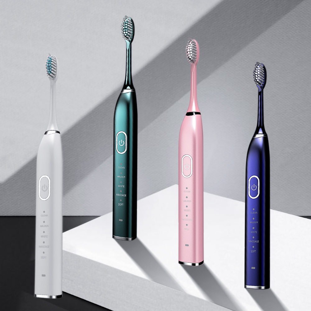 5 Modes Sonic Electric Toothbrush Smart USB Rechargeable Electronic Tooth Brush Waterproof 5 Replacement Brush Teeth Heads