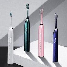 Cepillo de dientes eléctrico sónico de 5 modos, cepillo de dientes eléctrico inteligente recargable por USB, resistente al agua, 5 cabezales de repuesto