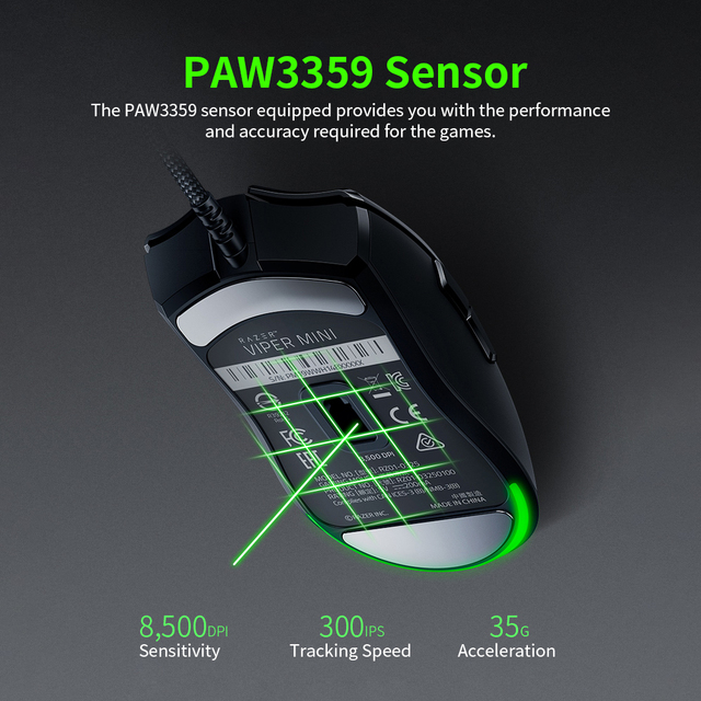 Original Razer Viper Mini 61g Lightweight Wired Mouse 8500DPI PAW3359 Optical Sensor RGB Gaming Mouse Mice SPEEDFLEX Cable