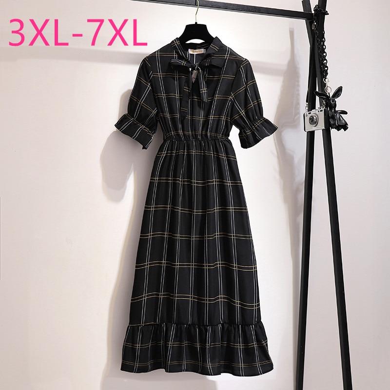 2020 summer plus size long dress for women large loose casual short sleeve bow plaid O neck dresses black 3XL 4XL 5XL 6XL 7XL