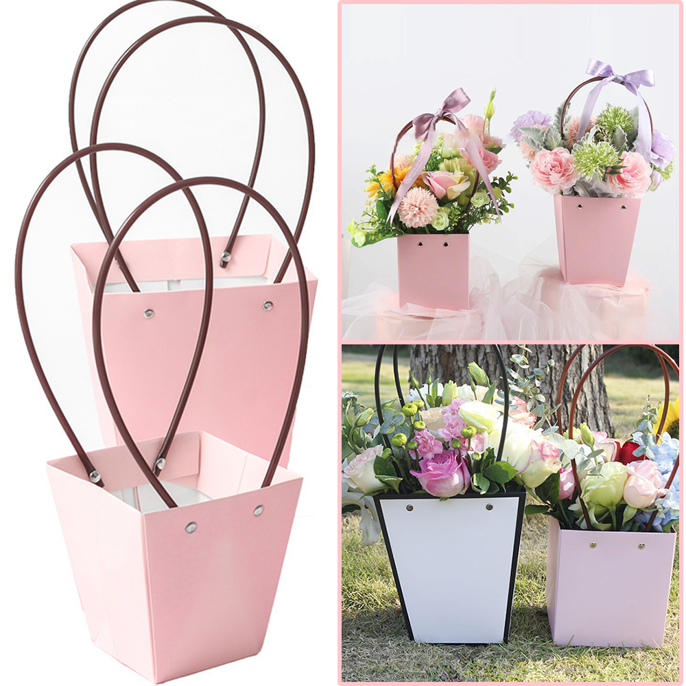 2Pcs PVC Waterproof Fower Box Bag Paper Square Portable Florist Handy Flower Bags Mini Wedding Favor Party Rose Storage Box Gift