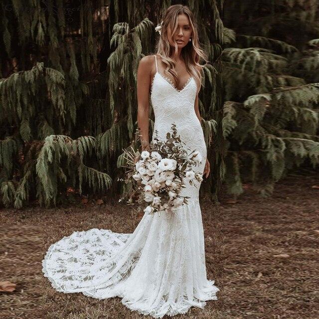 Boho Mermaid Wedding Dresses 2021 Spaghetti Straps Backless Sexy Beach Bride Dresses Bohemian Bridal Gowns Vestido De Noiva 3