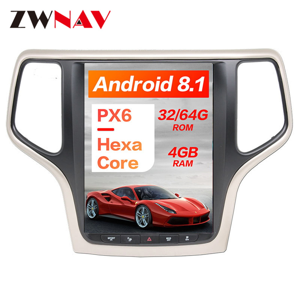 Android 8 1 4GB ROM Tesla style Car GPS Navigation For JEEP Grand Cherokee 2014 2018