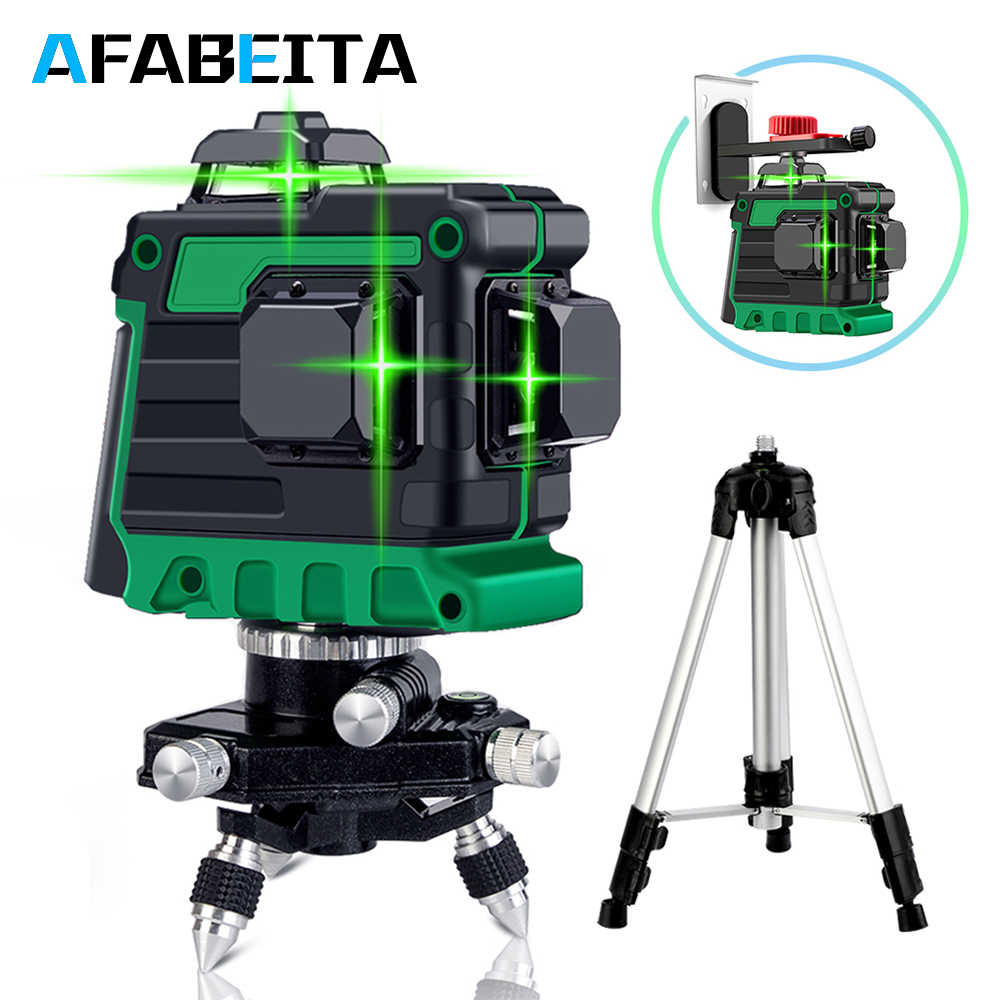 12 Lines 3D Laser Level Green Laser Line Self-Leveling 360 Degree Horizontal & Vertical Cross Lines With Tripod Outdoor
