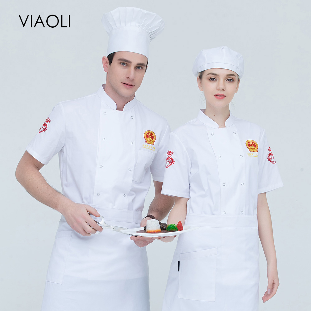 New high quality chef uniforms Food Service restaurant catering chef Workwear embroidery double breasted Chef Jacket 4 colors