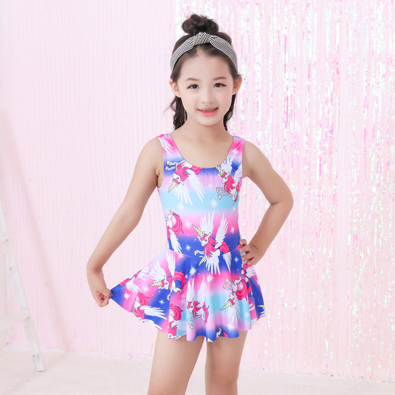 KID'S Swimwear GIRL'S Korean-style One-piece Cute Princess Dress-Tour Bathing Suit Cartoon Students Hot Springs Tour Bathing Sui
