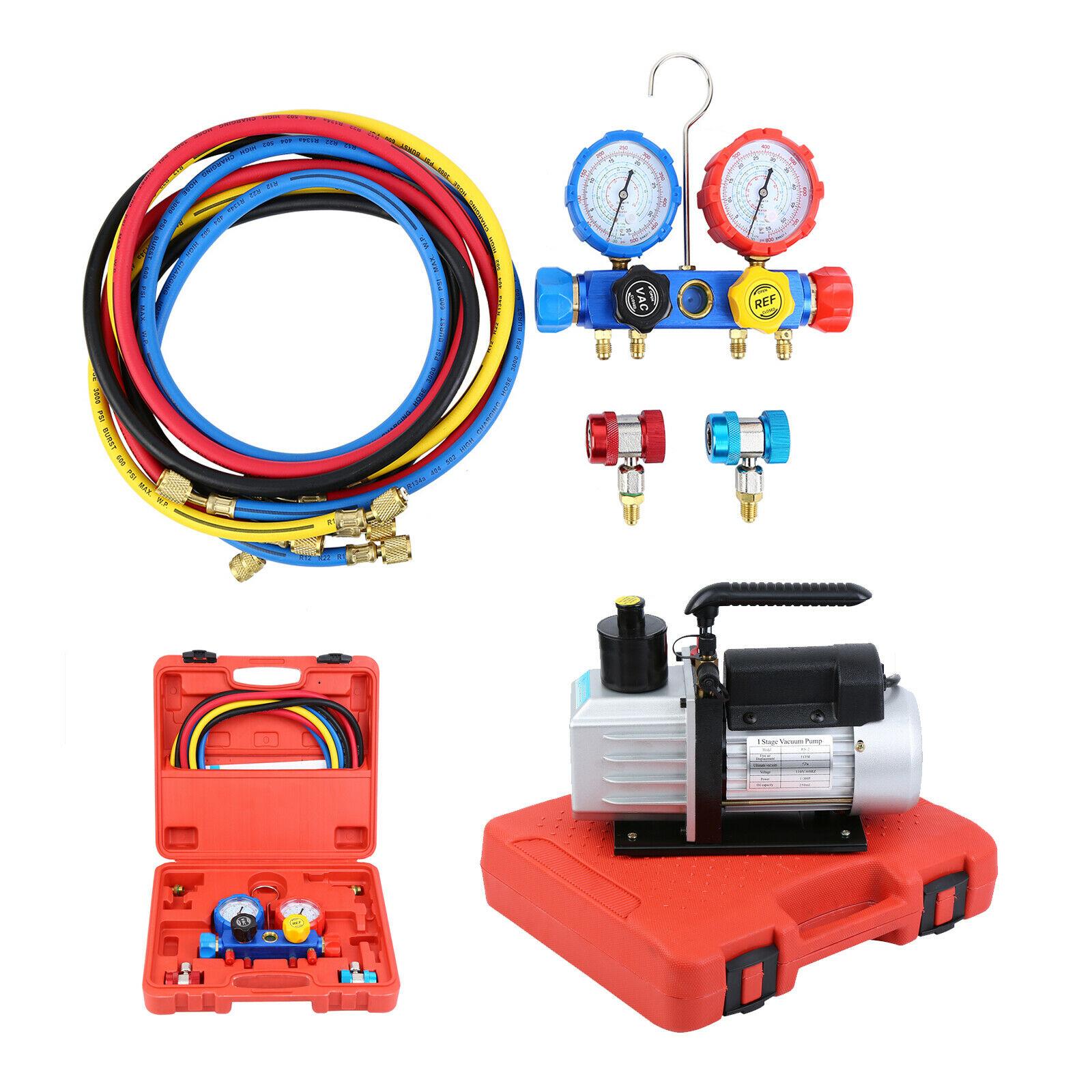 Yonntech Combo 5CFM 1/3HP Air Vacuum Pump HVAC + R134A Kit AC A/C Dual Manifold Gauge Set