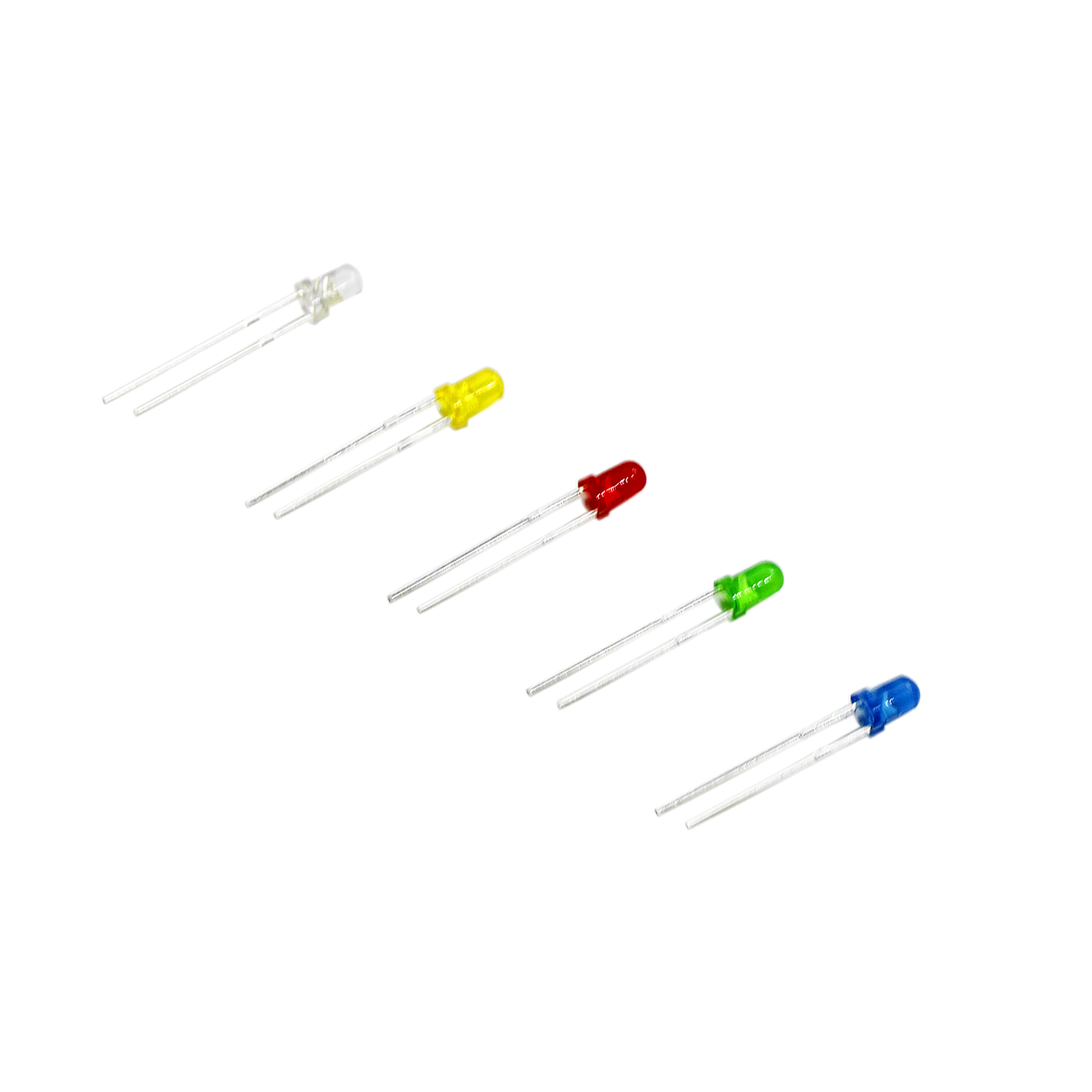 Free Ship┘500Pcs /lot 3MM LED Diode Kit Mixed Color Red Green Yellow Blue White + BOX