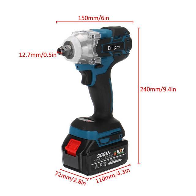 388vf 520N.M clé à chocs électrique sans fil outils électriques avec batterie Li 15000Amh + lumière LED sadapter à la batterie Makita
