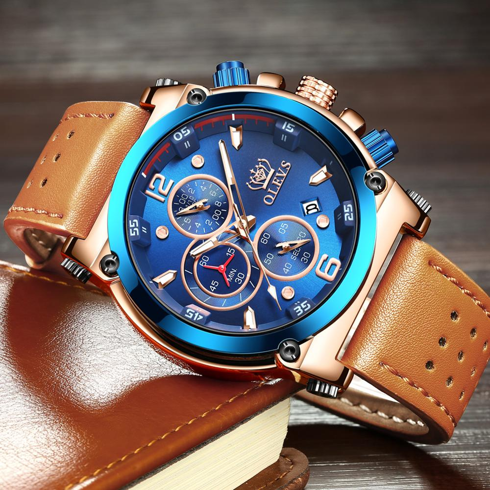 Waterproof Luminous Chronograph Man Brown Leather Men Watches Big Dial Wristwatch Top Brand Blue Relógio Masculino With Date